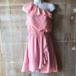 Candies baby pink one shoulder ruffle dress